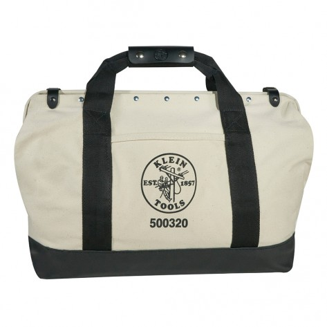 Klein 5003-20 20-in. Canvas Tool Bag with Leather Bottom