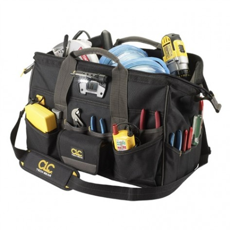 "CLC L232 45 Pocket Tech Gear Lighted 18"" BigMouth Tool Bag"